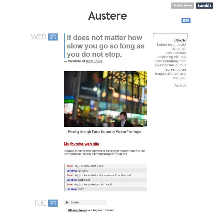 Austere Tumblr Theme
