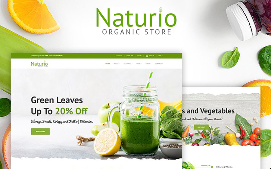 Naturio Food Store Template Elementor WooCommerce Theme