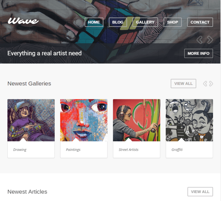 Wave WordPress Theme for Artists