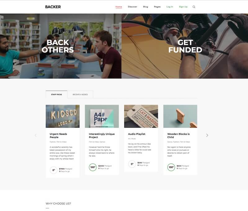 Backer WordPress Crowdfunding Theme