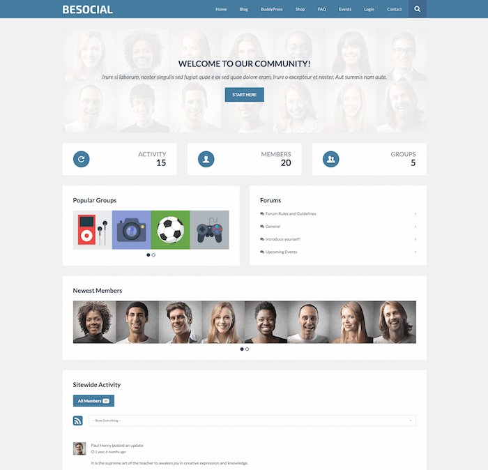Besocial WordPress theme