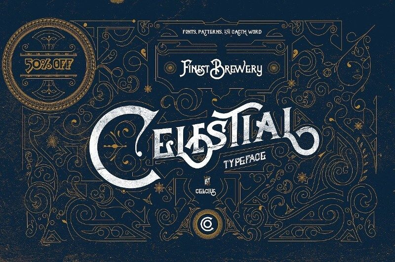 Celestial fonts and vintage pattern