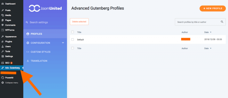 Advanced Gutenberg Plugin Options