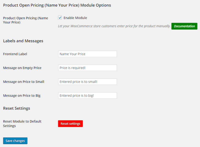 Open Pricing Option