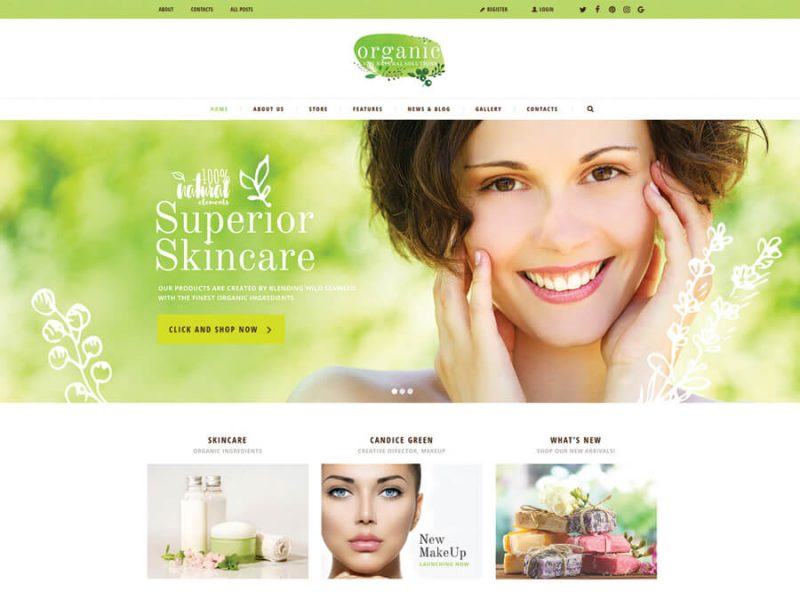 Organic Beauty Store & Natural Cosmetics WordPress Theme