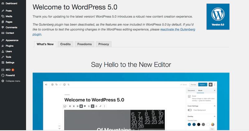 Updated to WordPress 5.0