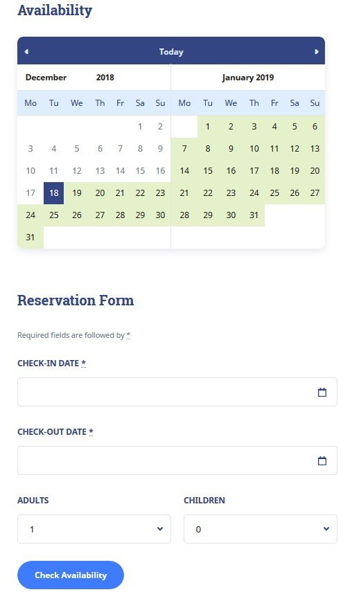 accommodation calendar