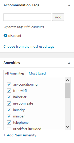 amenities and categories
