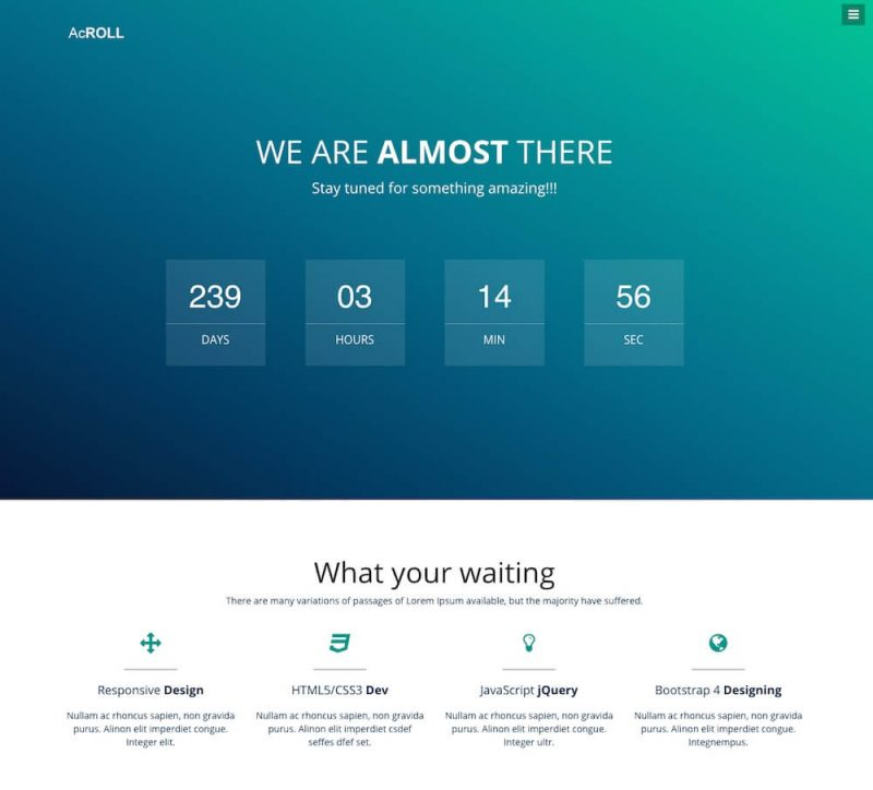 AcRoll Coming-soon Bootstrap 4 Website Template