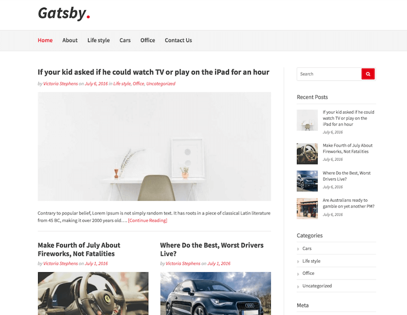 Gatsby Free WordPress Theme