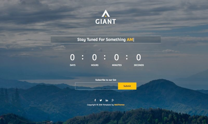 Giant Free Coming Soon HTML Website Template