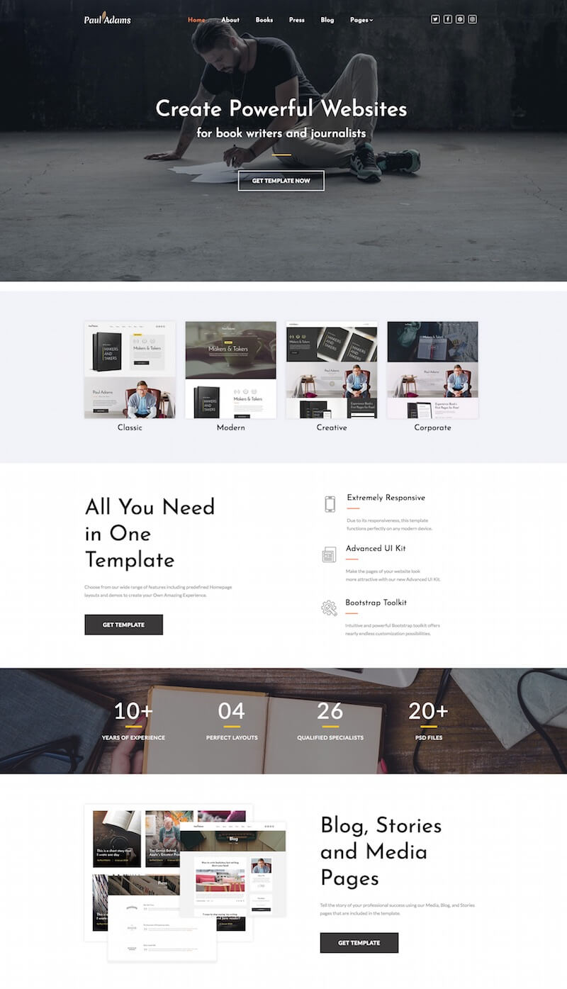 Learning and book website template