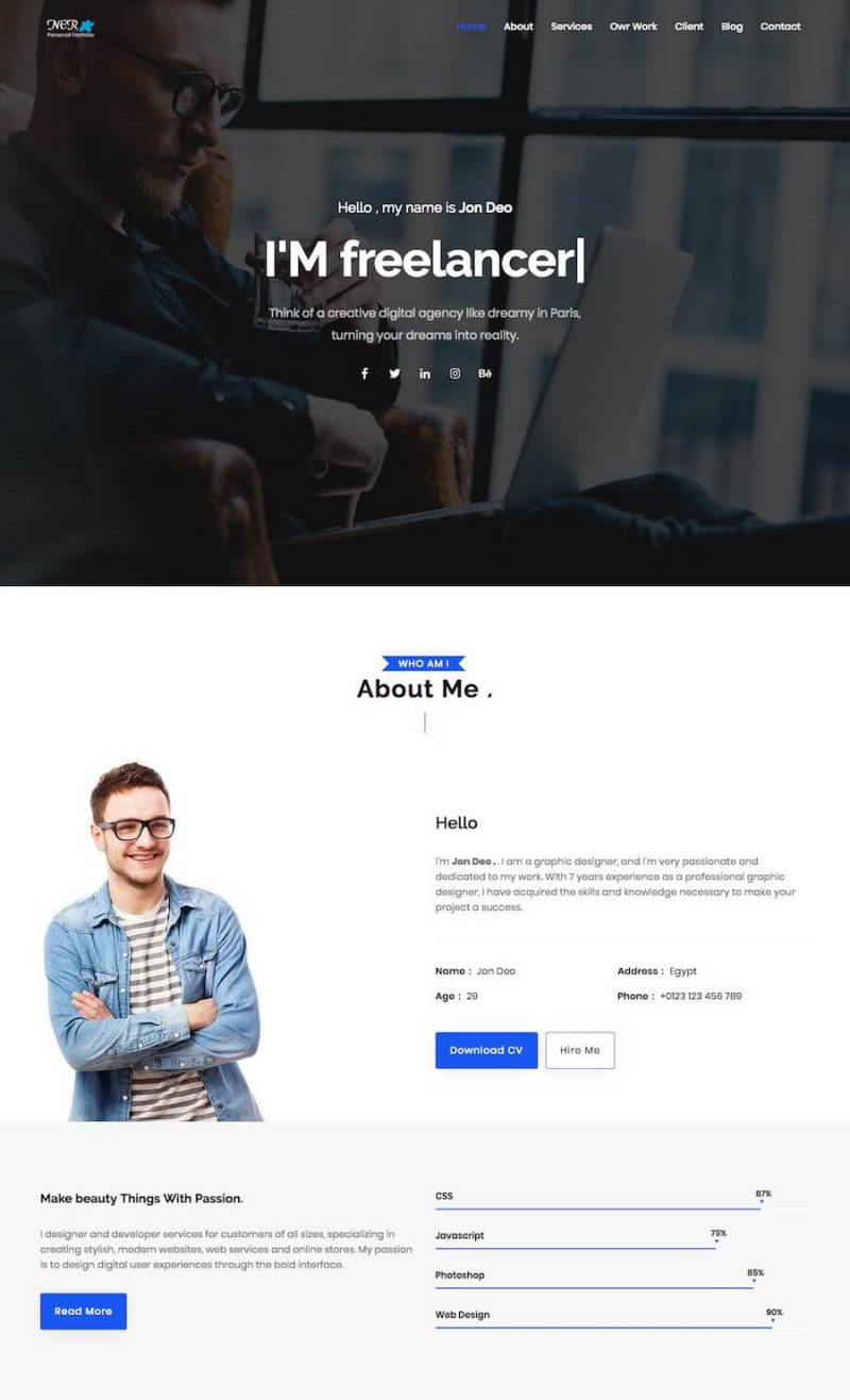 20 best personal website templates  free  u0026 premium  2019