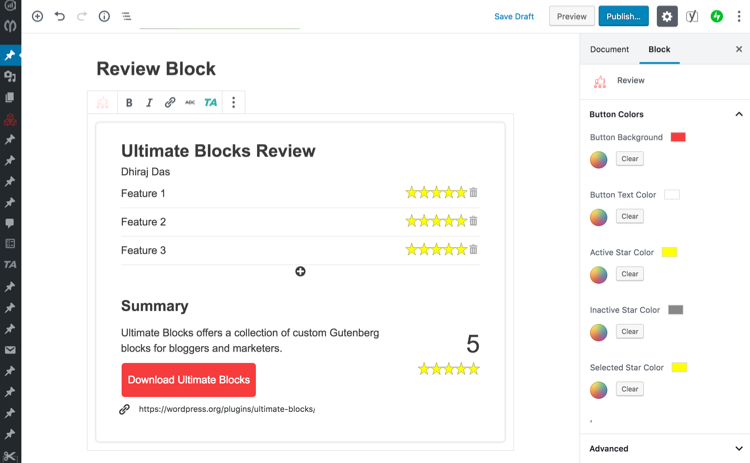 Review Block by Ultimate Blocks
