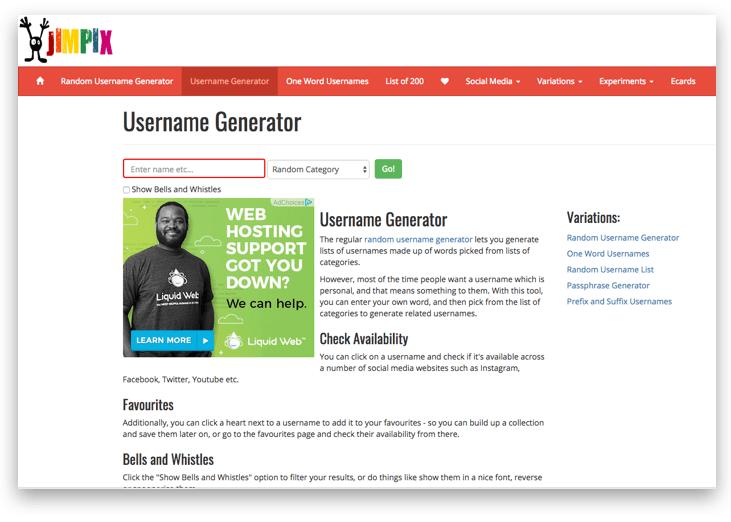 Jimpix Name Generator