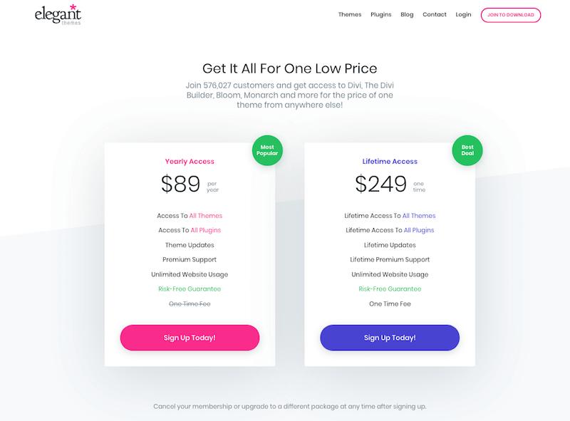 ElegantThemes Pricing