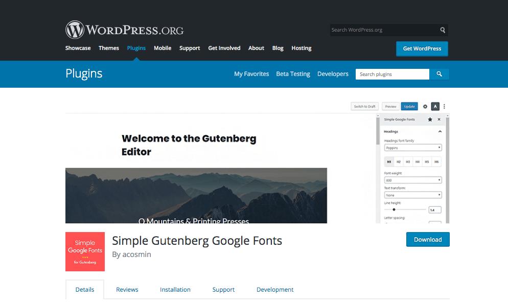 Simple Gutenberg Google Fonts