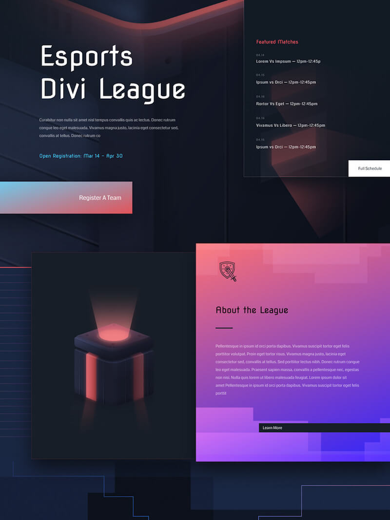 eSports Layout Pack for Divi