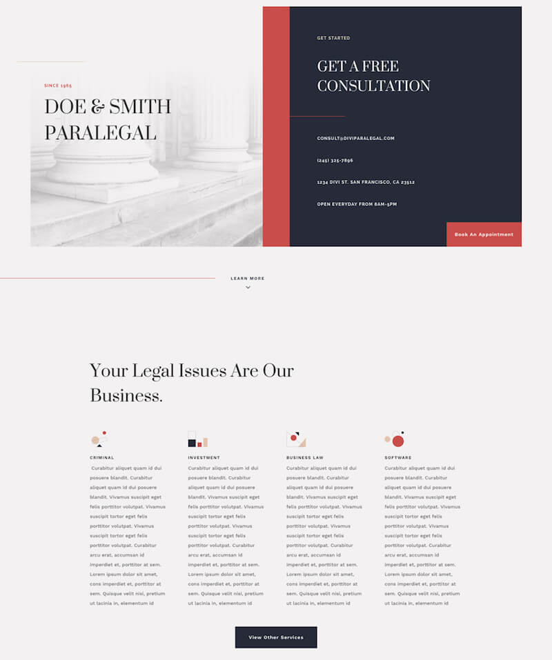 FREE Paralegal Layout Pack for Divi