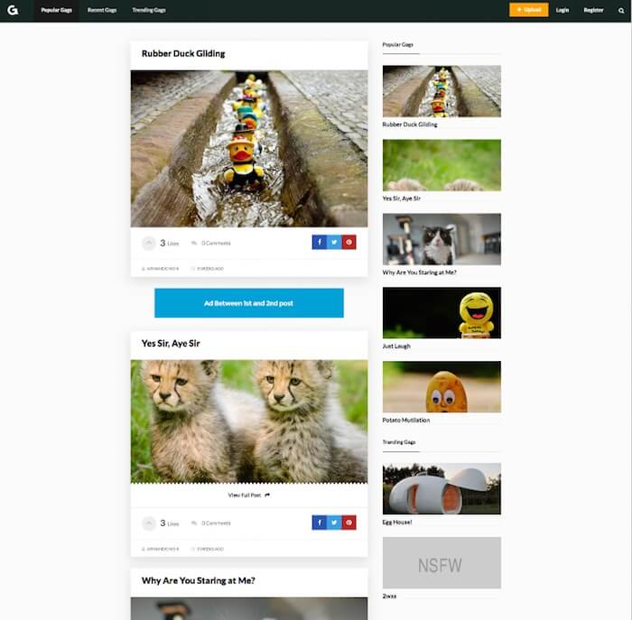 Gags Viral Content Sharing Theme