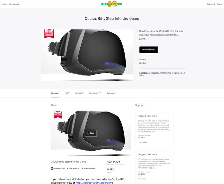 Oculus VR Crowdfunding