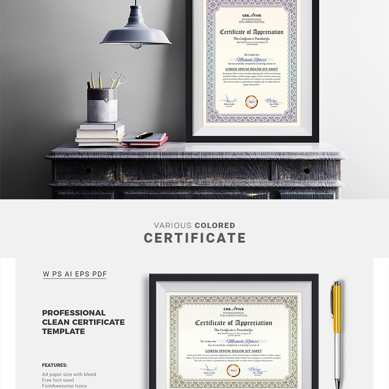 Corporate & Modern Word Multipurpose Certificate Template