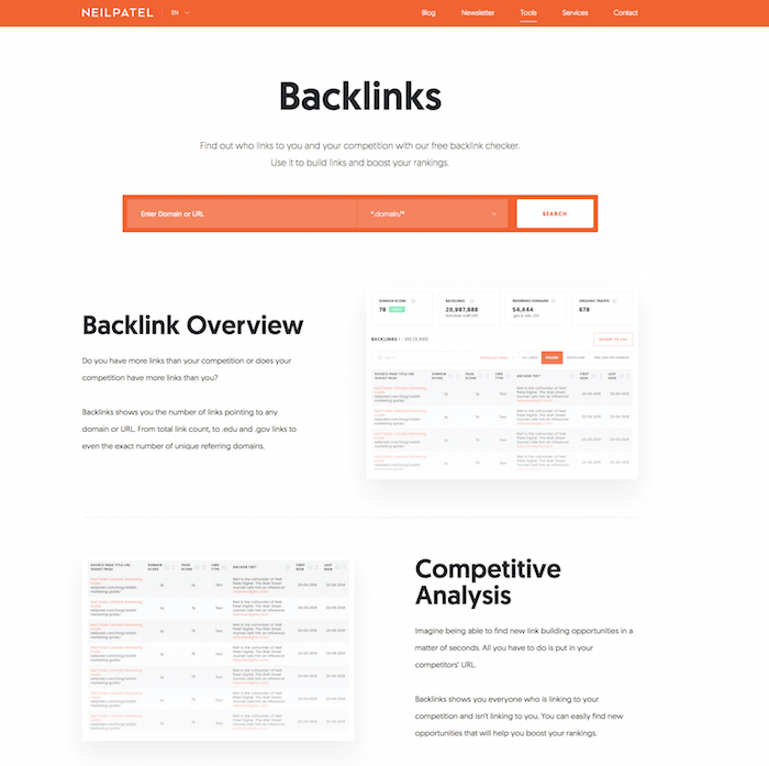 backlink tool by Neil Patel