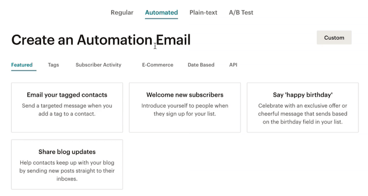 Automated email with MailChimp