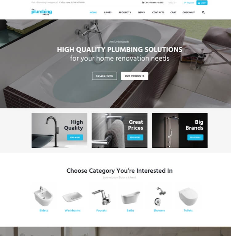 Plumbing and Building Parts WordPress theme