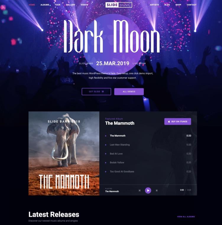 Slide music band WordPress theme