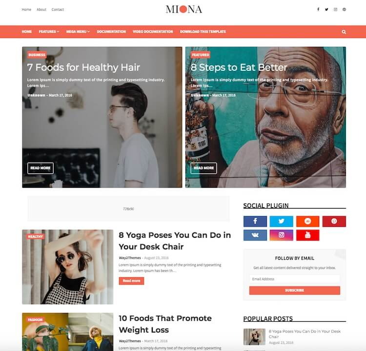 Miona Blogger Template