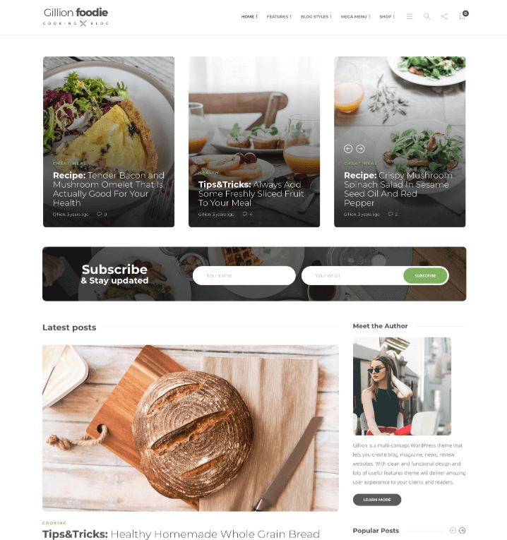 Gillion Food Blogging Themes