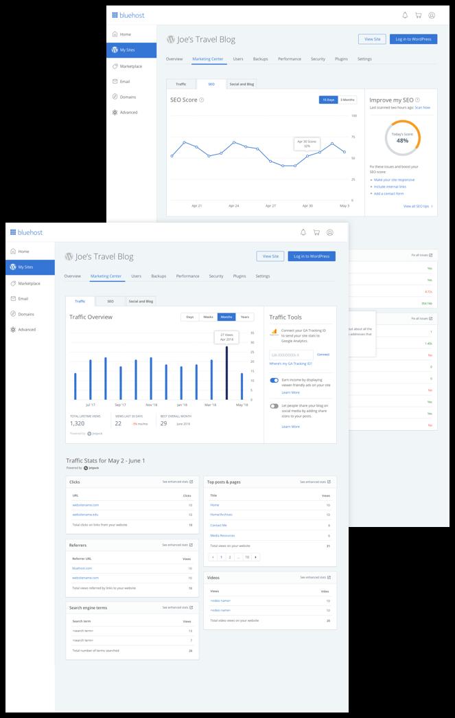 Bluehost WordPress hosting dashboard