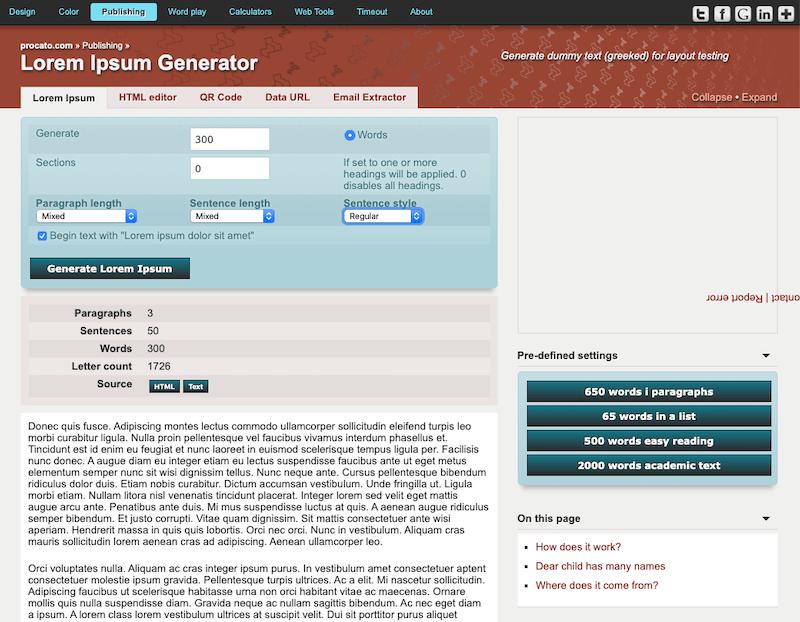 Procato Lorem Ipsum Generator