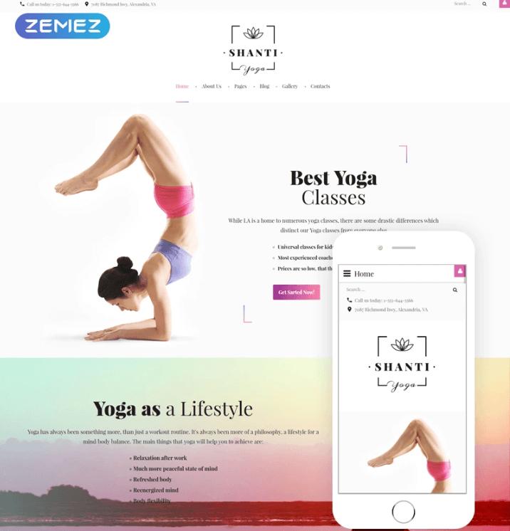 Shanti Yoga Joomla Template