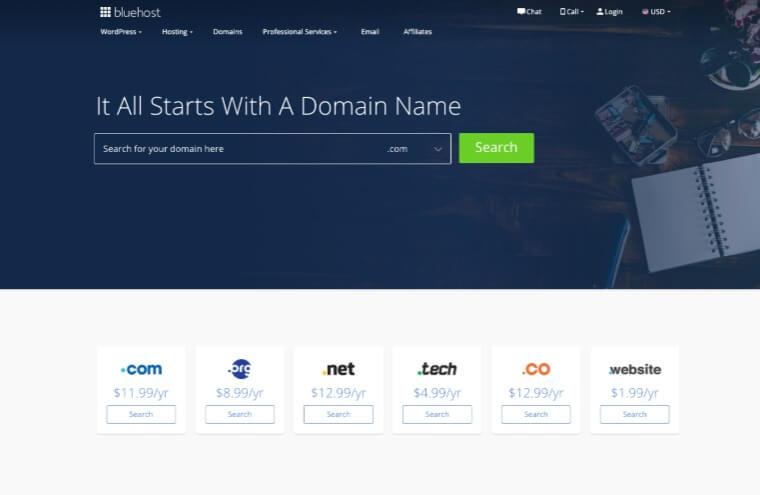 Bluehost Domain register