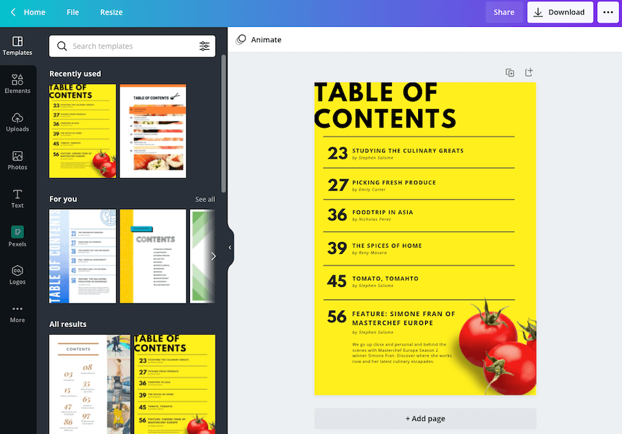 Bright Yellow and Black Fruit Table of Contents