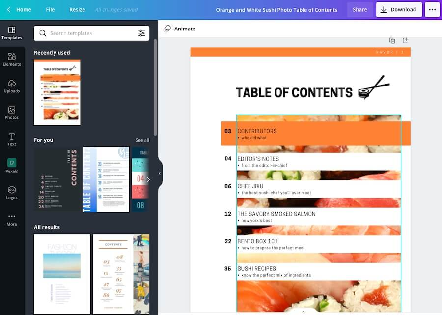 Orange Color Table of Content