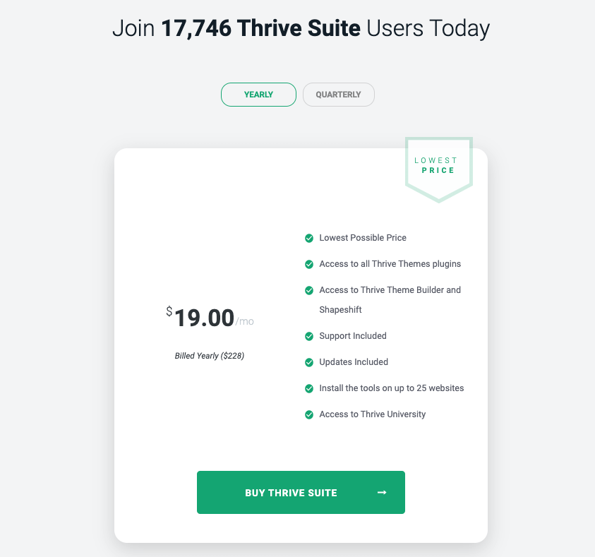 Thrive Suite pricing