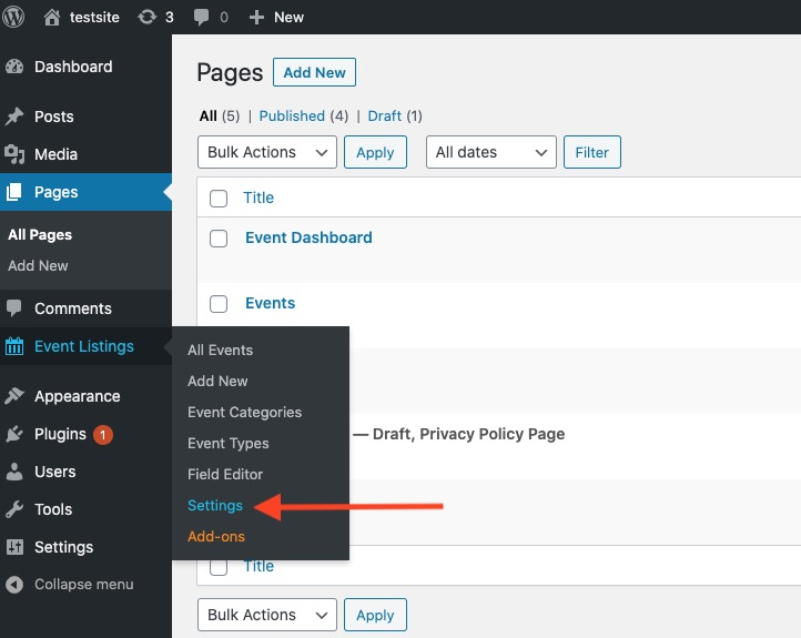 WP Event Manager Plugin Settings