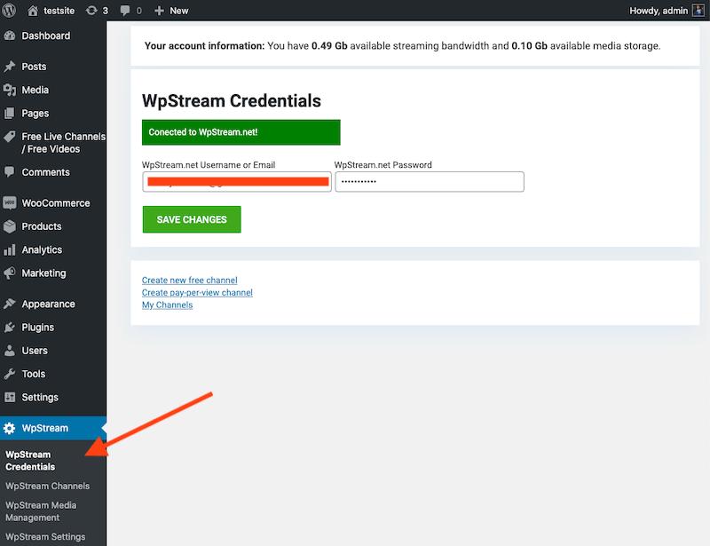 WpStream account