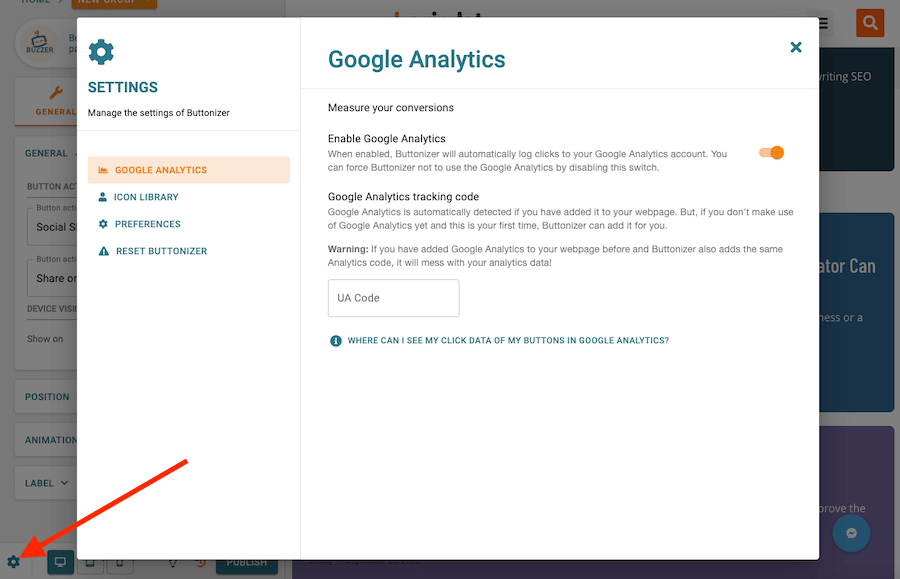 Google Analytics for Buttonizer