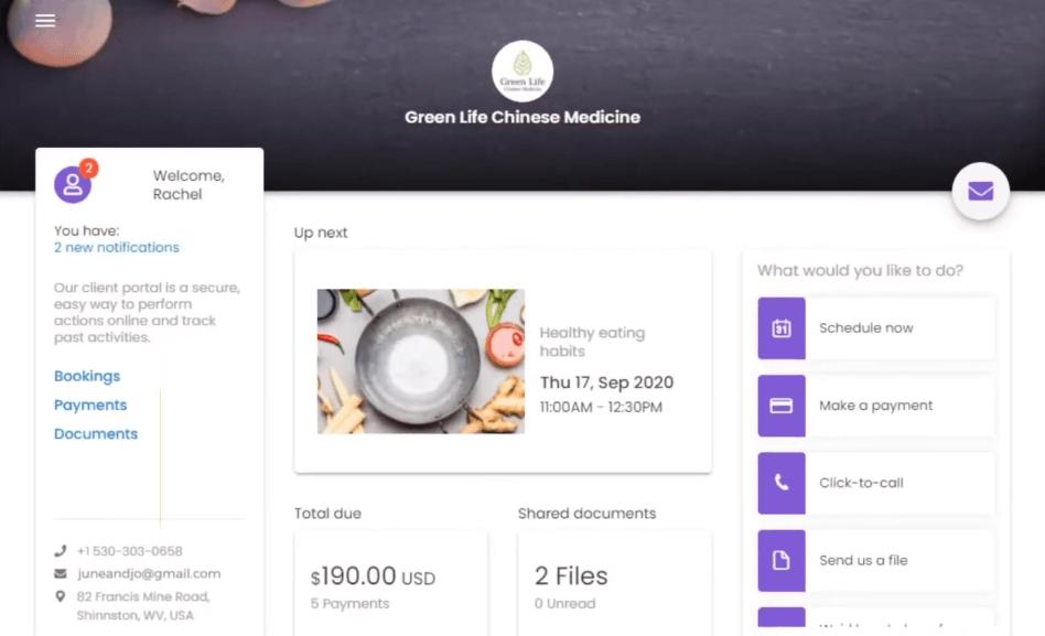 vcita's client portal