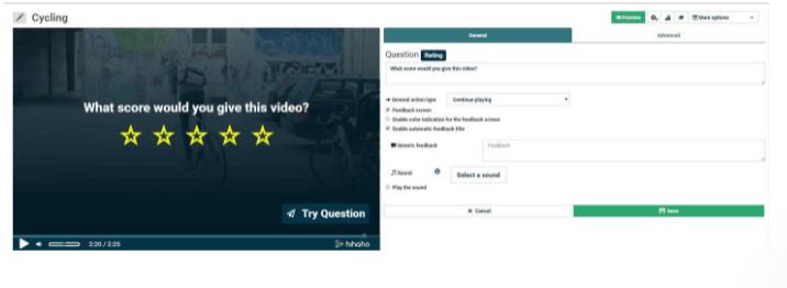 hihaho video Adding Rating Options